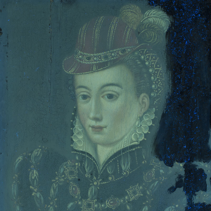 Analytical Services: In this panel painting, the use of UV light revealed an extensive overpaint shown, in the right margin, as a dark area. The yellow milky appearance on the rest of the surface indicates an old varnish.