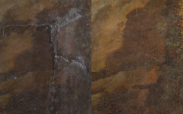 Detail of the old repair before and after the painting conservation treatment.