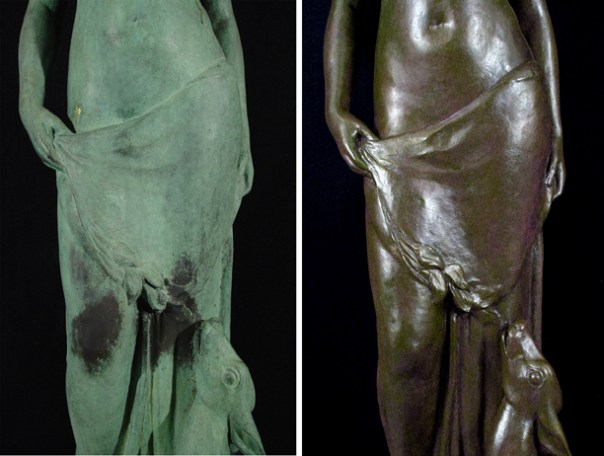 Verdigris corrosion in a bronze sculpture and replacement with a stable brown patina.