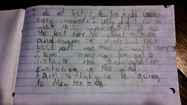 This says it all: A journal entry by a camper!