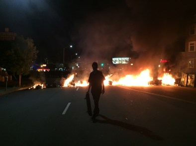 A fire set by protesters on Telegraph Avenue in Oakland during Tuesday night's unrest. (Alex Emslie/KQED)
