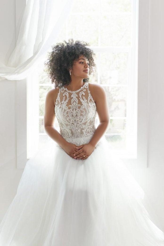 Bride Wearing Halter Neck Ball Gown Wedding Dress Called Ardelle by Rebecca Ingram