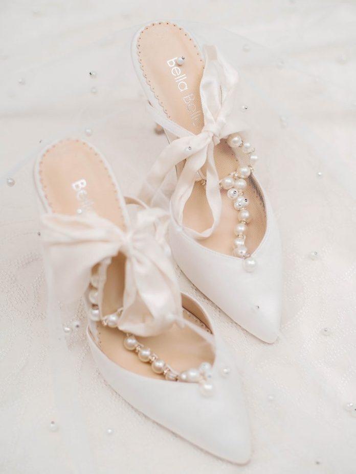 White and Pearl Royal Inspirierte Hochzeitsschuhe mit hohen Absätzen