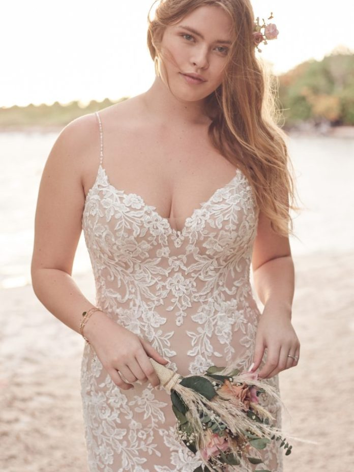 Bride Wearing Affordable Lace Mermaid Wedding Dress for Curvy Brides Called Forrest by Rebecca Ingram