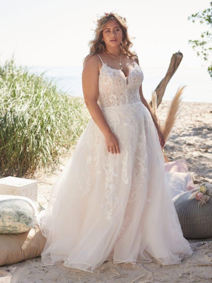 Bride Wearing Lace Plus Size A-line Wedding Dress Called Katiya by Rebecca Ingram
