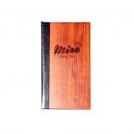 Rechnungsbox aus Holz mit PU-Leder-Applikationen