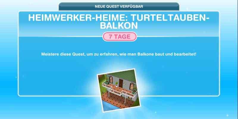 Questankündigung Heimwerker Heime: Turteltauben-Balkon