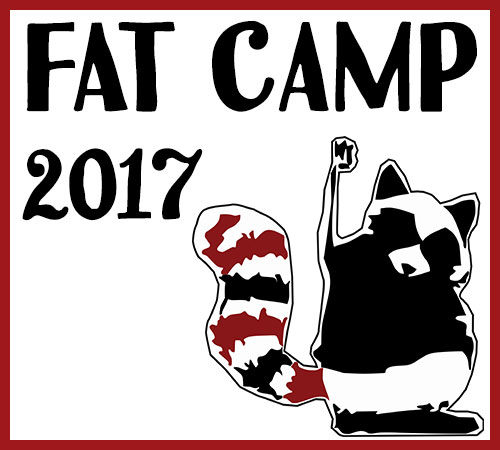 Fat Camp 2017 with a fat raccoon holding its fist up