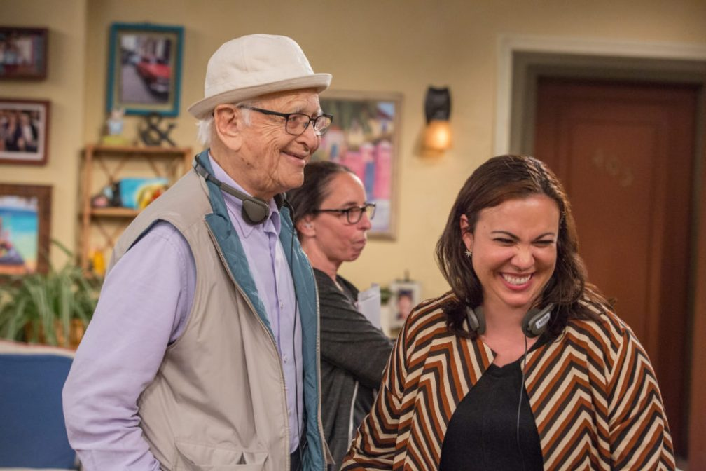 Norman Lear and Gloria Calderon Kellett on the set of One Day at a Time