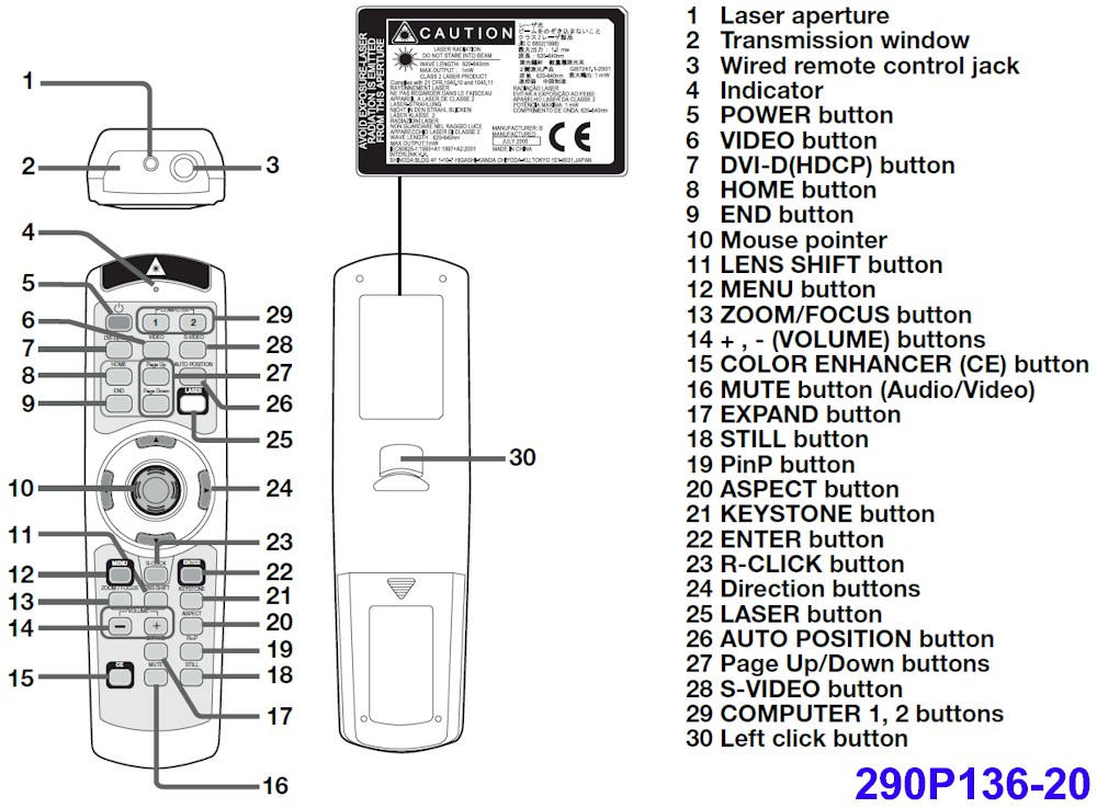 NEW GENUINE Mitsubishi 290P136-30 Remote Control for