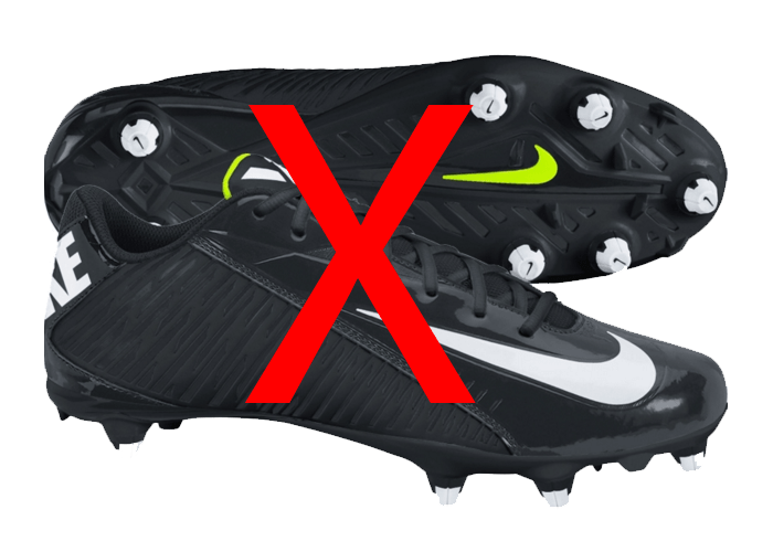 metal studs soccer cleats. cleats have a rigid bottom with 6-18 hard plastic or metal studs. studs soccer