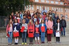 12.09.2017: Die Klasse 5a freut sich über einen fröhlichen ersten Tag am SG.