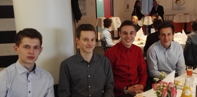 """Das Siegerteam """"MALT"""": Moritz Brunner, Alex Oppold, Luca Maron und Tobias Frömelt (K1)"""