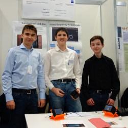 09.02.2019, Jugend forscht: Florian Janot, Simon Glöckner und Johannes Kürz stellen die Konstruktion und und den Bau eines Raspberry Pi Terminals vor.