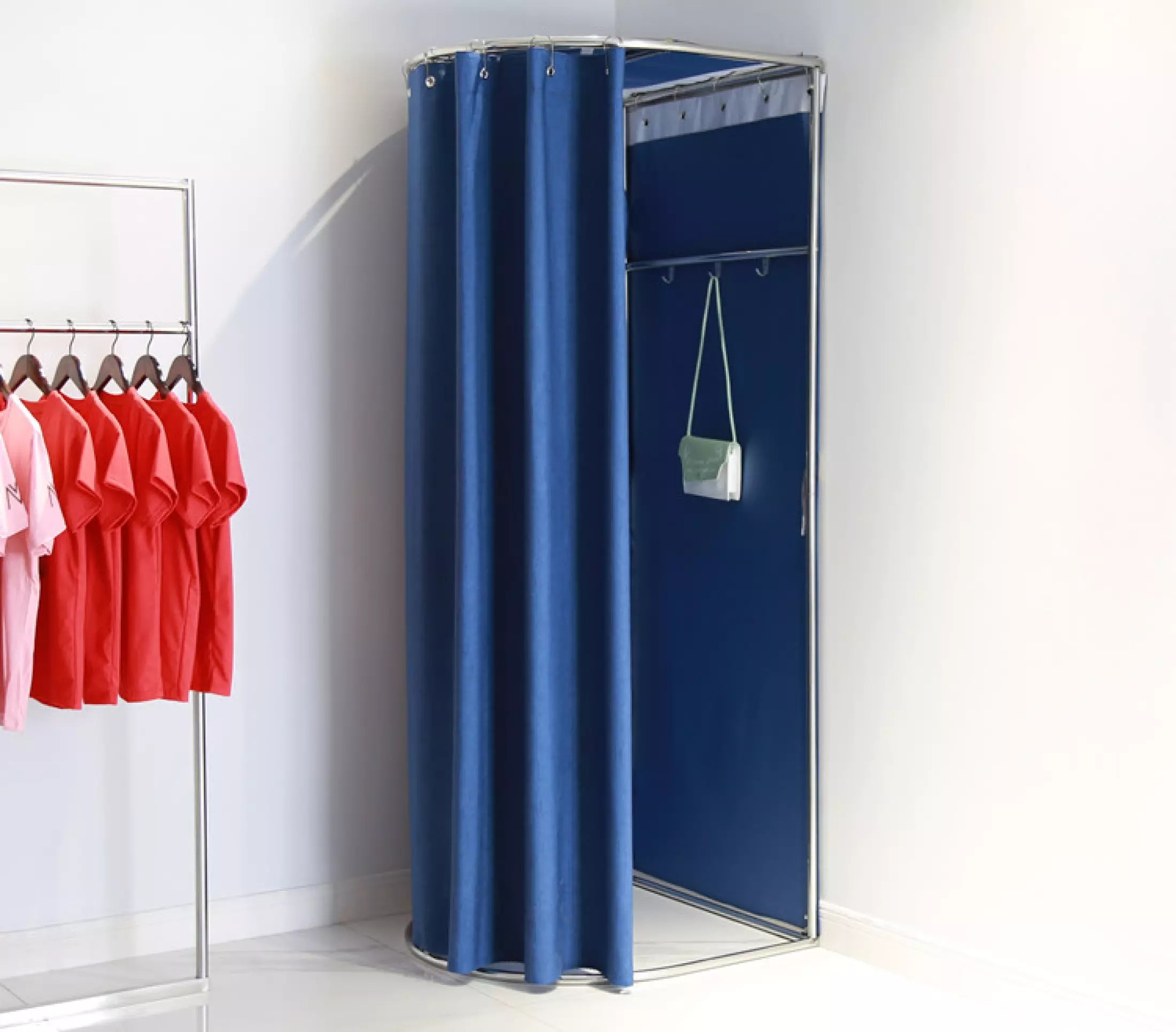 clothing store fitting room store movable changing room dressing room clothing store hanger activity fitting room door curtain