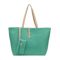 Green Big Handbag Shoulder Bag PU Leather Tote with Small Wallet Bag for Women