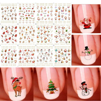 Black Horse Cute12 Sheet Christmas 3d Nail Art Stickers Snowflakes Snowmen Decals Random Color