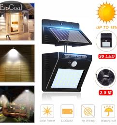 esogoal outdoor lighting sensor solar wall light 30 led solar lights with separable solar panel waterproof [ 1500 x 1500 Pixel ]