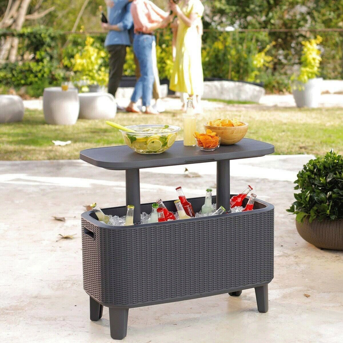 keter bevy bar cooler box and side table brown