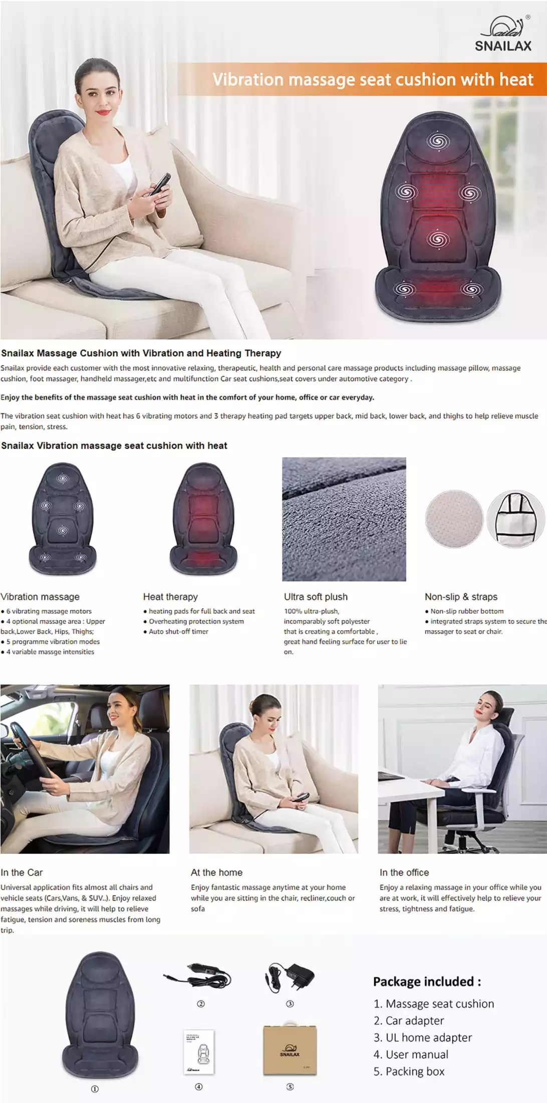 snailax sl 262p light weight vibration massager chair cushion with heat function for home office and car use