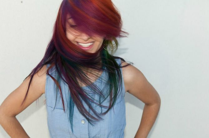 be bold, Festive hair ideas, hair dye, colourful, rainbow, girl, woman, cool