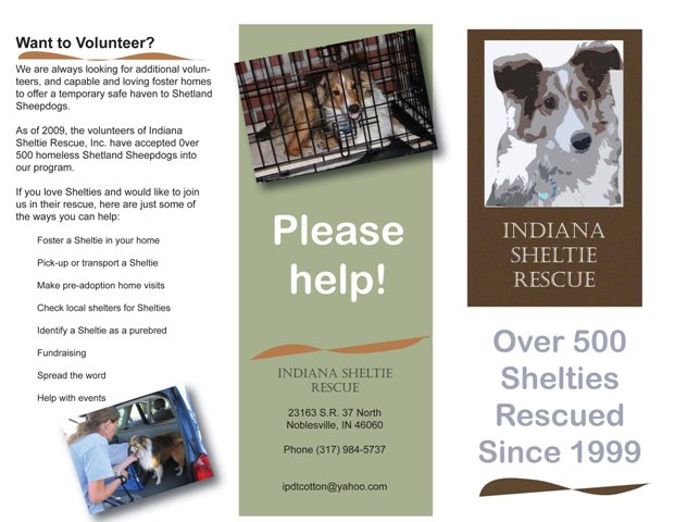 Indiana Sheltie Rescue brochure