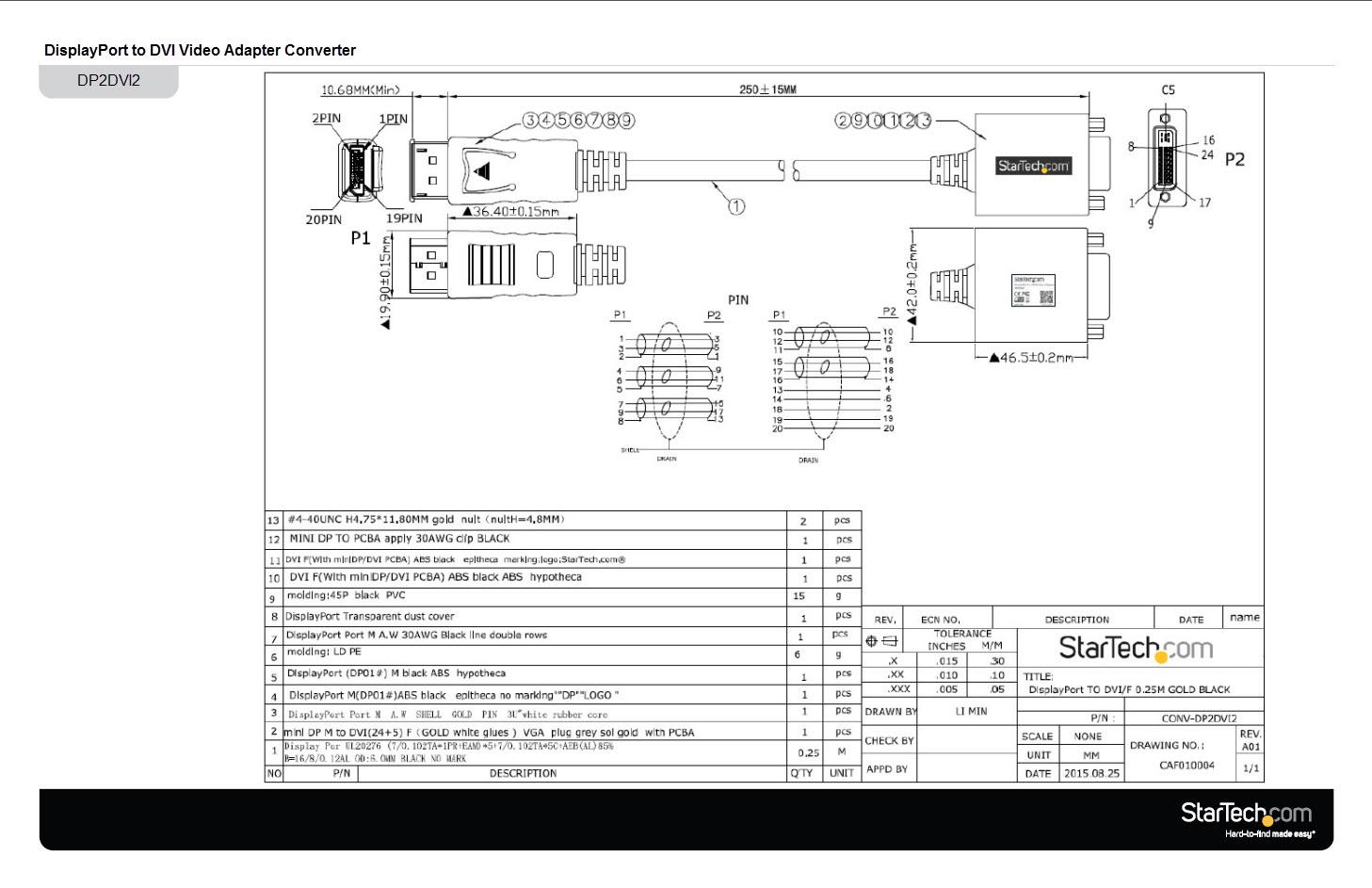 hight resolution of displayport dvi adapter displayport male dvi single link femaledisplayport to dvi wiring diagram 1