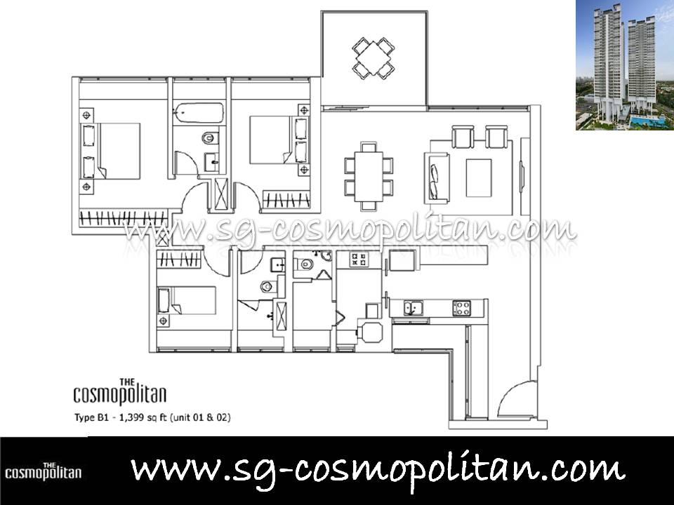 3 Bedroom The Cosmopolitan Singapore Condo Condominium