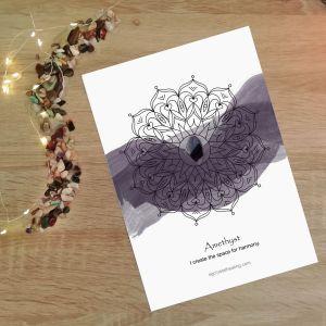 Crystal Mandala Watercolor - Amethyst