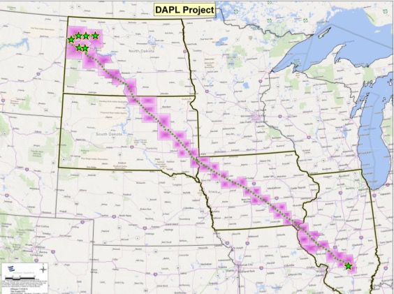 Map of Dakota Access Pipelines (DAPL)