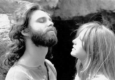 Jim Morrison (left) and his girlfriend Pamela Courson (right)