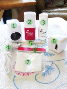 1. LED Lamp 2. Gelnamel (no-no way!) 3. Cleanser 4. USB Cable 5. Manicure stick 6. Double sided nail buffer 7. Lint free wipes 8. Outlet adapter