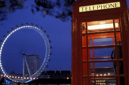 Typical English Phone Booth with The Eye in the background