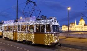 Light tram at Christmas