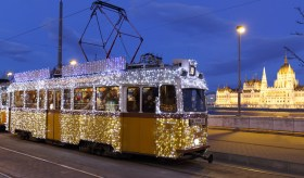 Light tram at Christmas