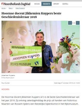 Jikkemien Kuypers beste geschiedenisdocent 2018