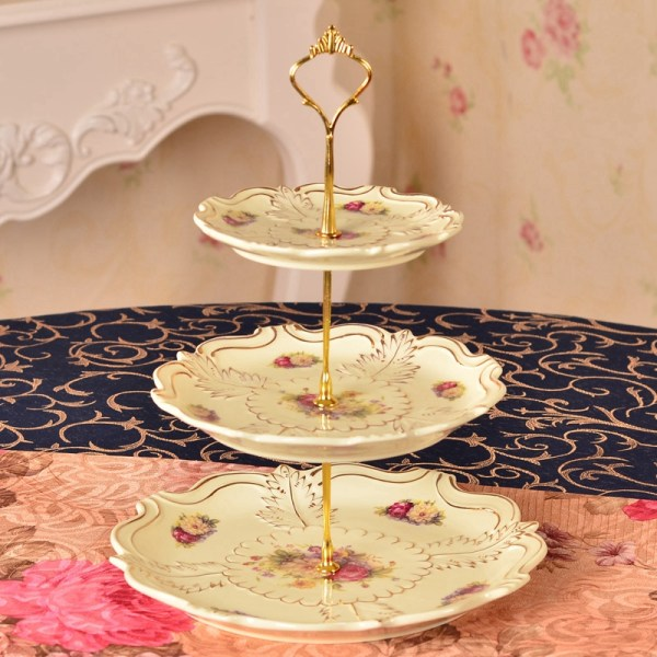 3 Tier Crown Metal Cupcake Cake Plate Stand Handle Fitting