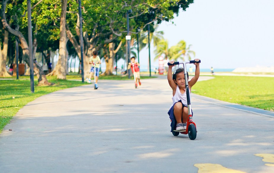 Kids on GoPed Kick Scooters