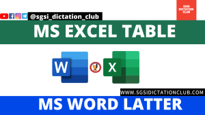 MS Excel Table