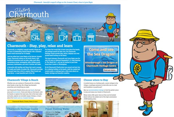 Charmouth village website with Charmouth Charlie character