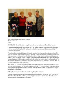 Area Crafters Donate Lapghans for Veterans published on February 26, 2015 in The Belvidere Daily Republican