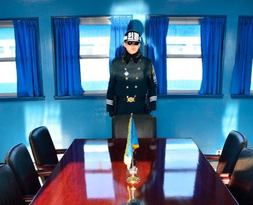 Confine tra Nord e Sud Corea: interno della Freedom House