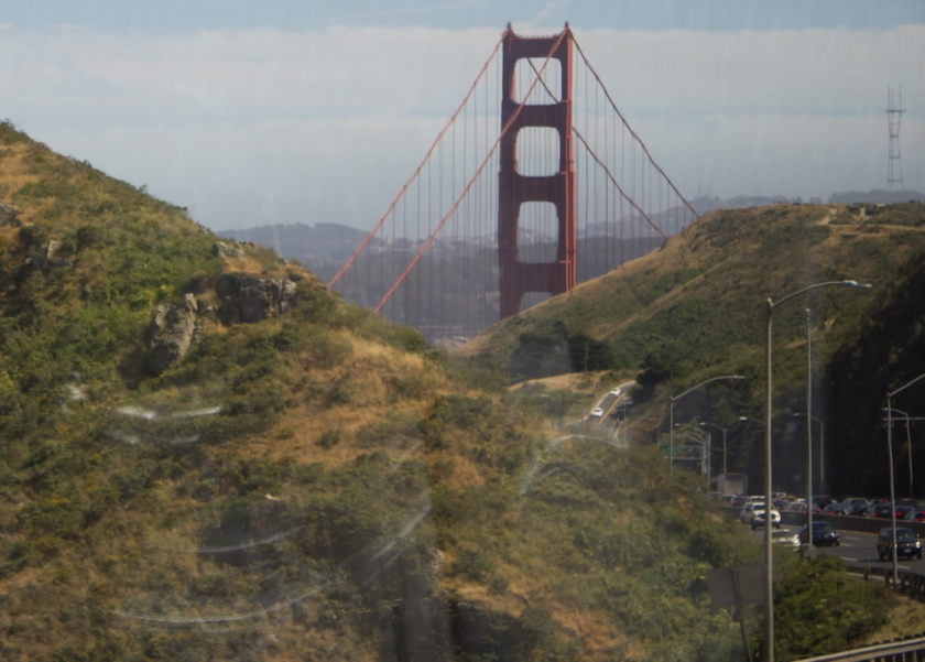 The Golden Gate Bridge as seen from the Bus