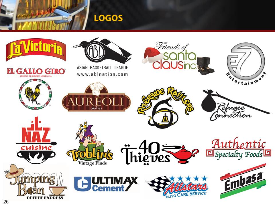 Vast array of logo designs for various local and national brands