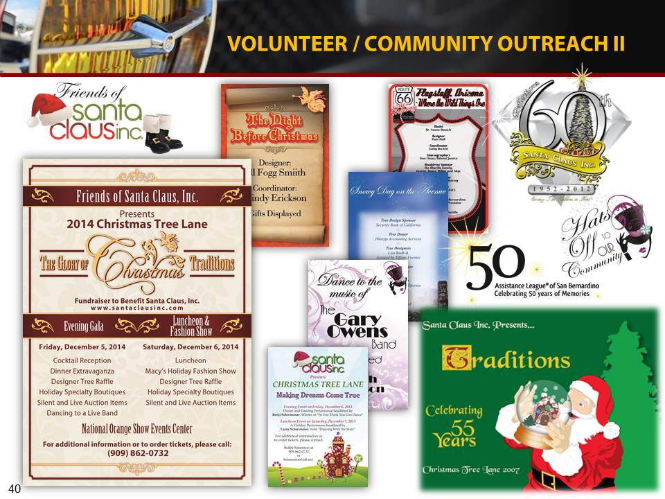Volunteer graphic design services for Santa Claus, Inc, and Assistance League. Christmas tree placards, brochures and mailers, and collateral.