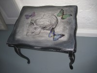 Black Salvage Skull Coffee Table | shabbychiffonier