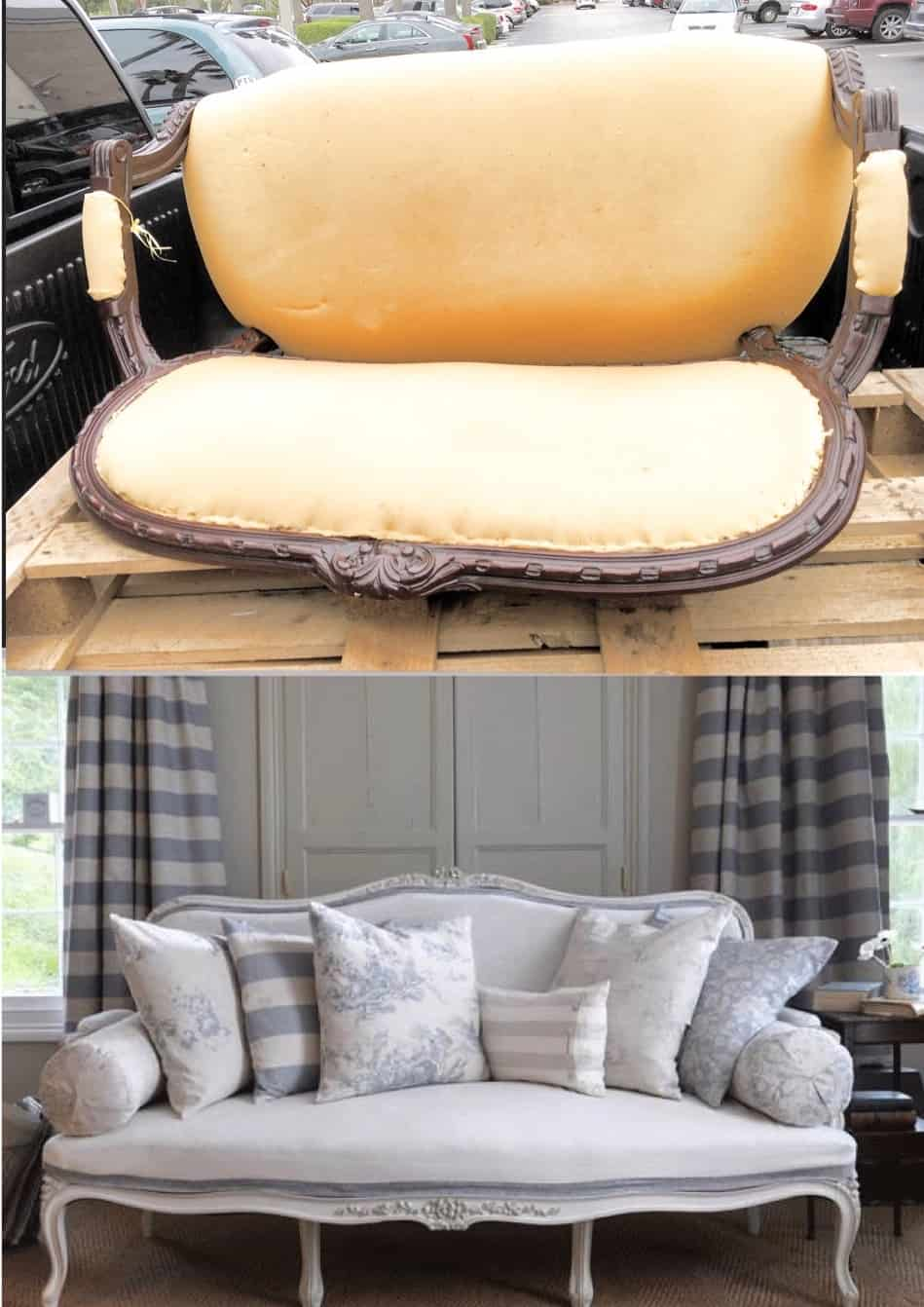 How To Easily Upholster A Sofa and Paint It  shabbyfufucom