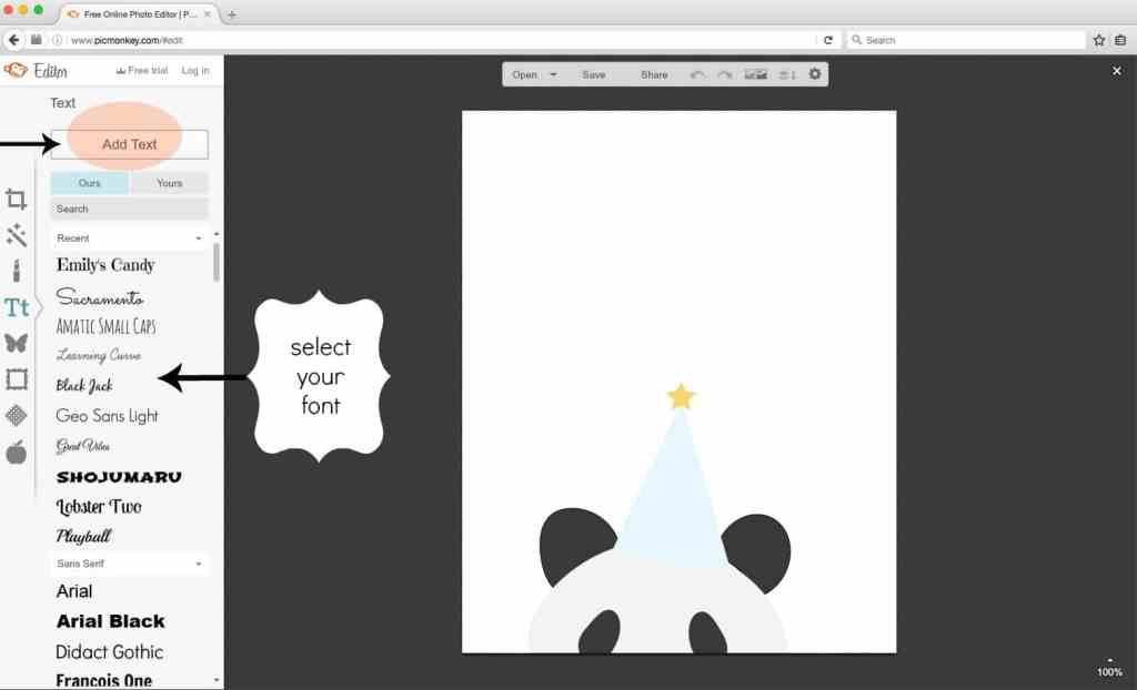 Picmonkey tutorial. Picking font. shabbymintchicparty.com
