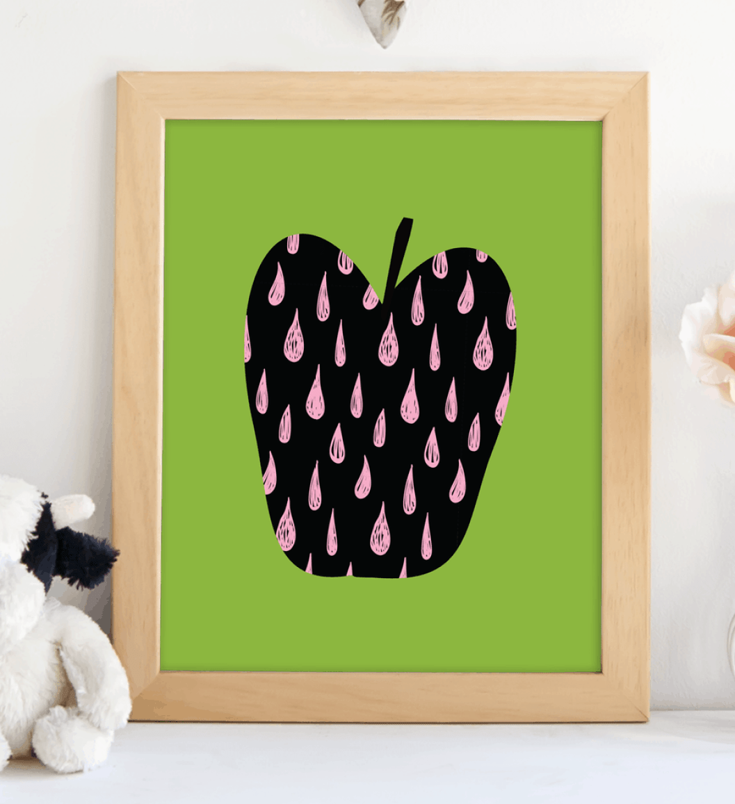 Retro Heart Apple.shabbymintchicparty.etsy.coom