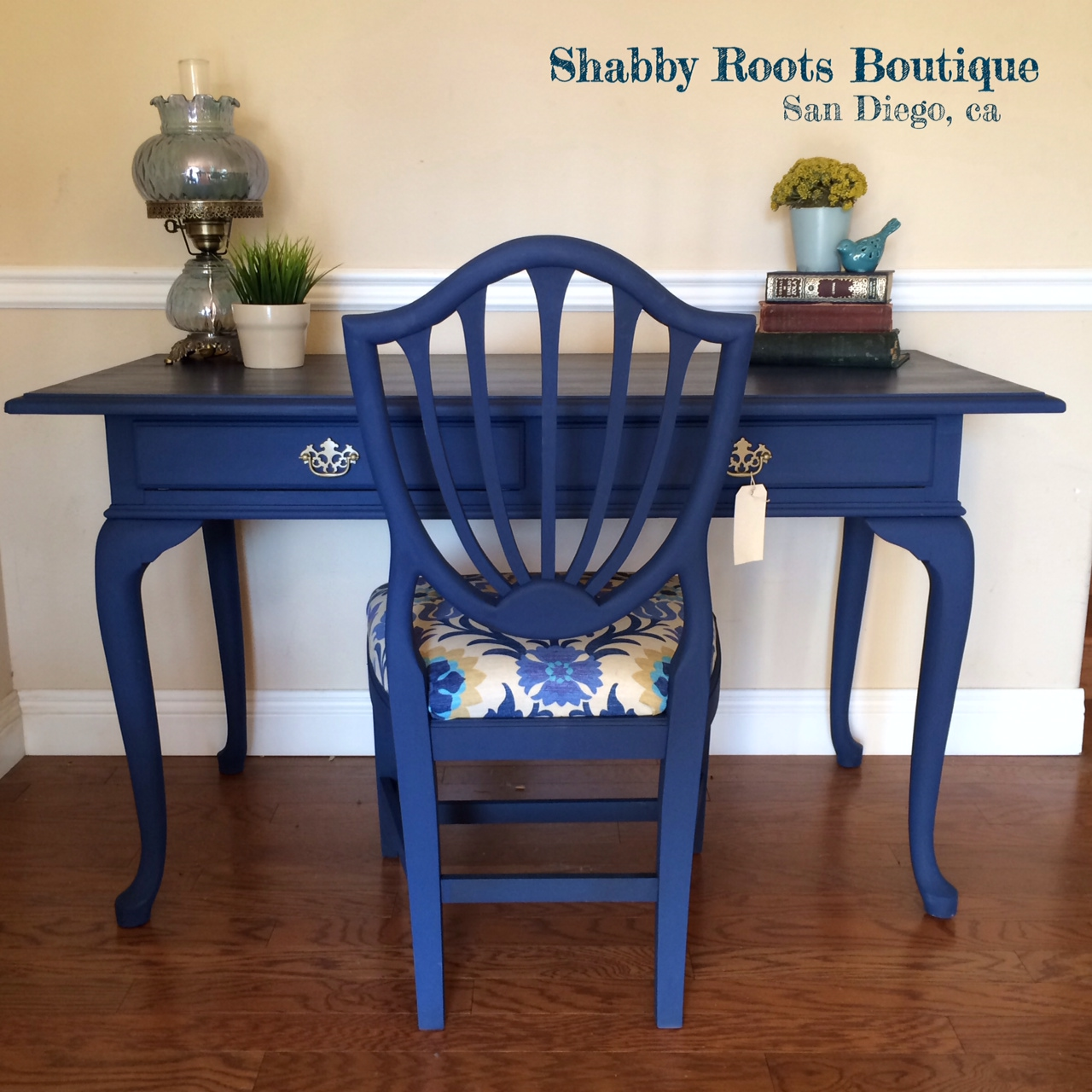 painted queen anne sofa table uk sofas cobalt blue desk and chair shabby roots boutique bluedesk1